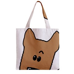 Peeping Yorkshire terrier Zipper Grocery Tote Bags