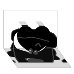Peeping Black  Poodle Heart 3D Greeting Card (7x5)