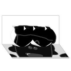 Peeping Black  Poodle Twin Hearts 3D Greeting Card (8x4)