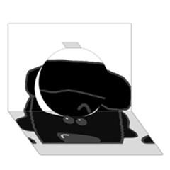 Peeping Black  Poodle Circle 3D Greeting Card (7x5)