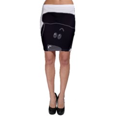 Peeping Black  Poodle Bodycon Skirts