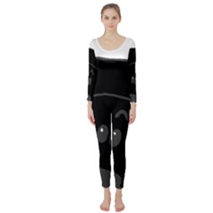 Peeping Black  Poodle Long Sleeve Catsuit