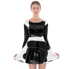 Peeping Black  Poodle Long Sleeve Skater Dress