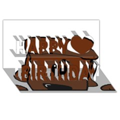 Peeping Chocolate Poodle Happy Birthday 3D Greeting Card (8x4)