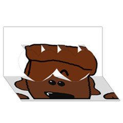 Peeping Chocolate Poodle Twin Hearts 3D Greeting Card (8x4)