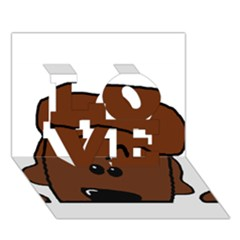 Peeping Chocolate Poodle LOVE 3D Greeting Card (7x5)