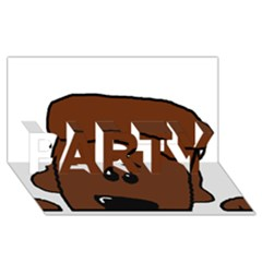 Peeping Chocolate Poodle PARTY 3D Greeting Card (8x4)