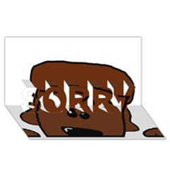 Peeping Chocolate Poodle SORRY 3D Greeting Card (8x4)