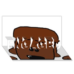 Peeping Chocolate Poodle Engaged 3d Greeting Card (8x4)
