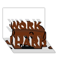 Peeping Chocolate Poodle WORK HARD 3D Greeting Card (7x5)