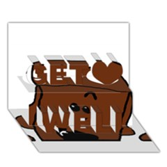 Peeping Chocolate Poodle Get Well 3D Greeting Card (7x5)