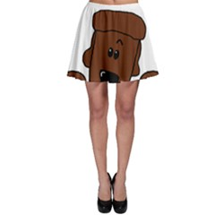 Peeping Chocolate Poodle Skater Skirts