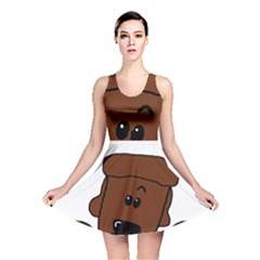 Peeping Chocolate Poodle Reversible Skater Dresses