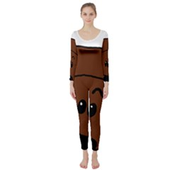 Peeping Chocolate Poodle Long Sleeve Catsuit