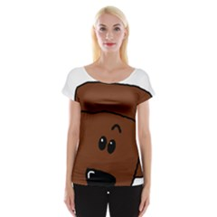 Peeping Chocolate Poodle Women s Cap Sleeve Top