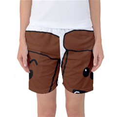 Peeping Chocolate Poodle Women s Basketball Shorts