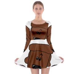 Peeping Chocolate Poodle Long Sleeve Skater Dress