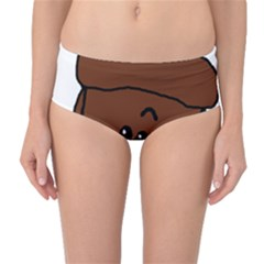 Peeping Chocolate Poodle Mid-Waist Bikini Bottoms