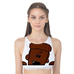 Peeping Chocolate Poodle Tank Bikini Top