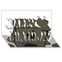 Peeping Silver  Poodle Happy Birthday 3D Greeting Card (8x4)
