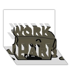Peeping Silver  Poodle WORK HARD 3D Greeting Card (7x5)