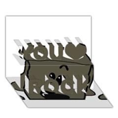 Peeping Silver  Poodle You Rock 3D Greeting Card (7x5)