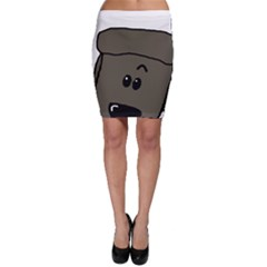 Peeping Silver  Poodle Bodycon Skirts