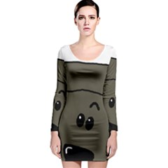 Peeping Silver  Poodle Long Sleeve Bodycon Dresses