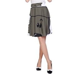 Peeping Silver  Poodle A-Line Skirts