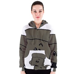Peeping Silver  Poodle Women s Zipper Hoodies