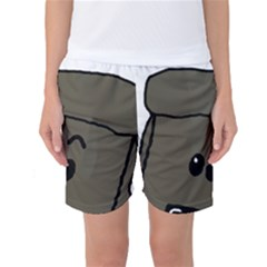 Peeping Silver  Poodle Women s Basketball Shorts