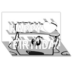 Peeping White Poodle Happy Birthday 3D Greeting Card (8x4)