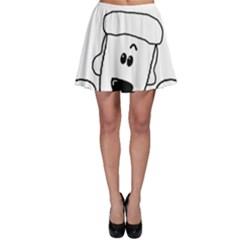Peeping White Poodle Skater Skirts