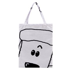 Peeping White Poodle Classic Tote Bags