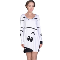 Peeping White Poodle Long Sleeve Nightdresses
