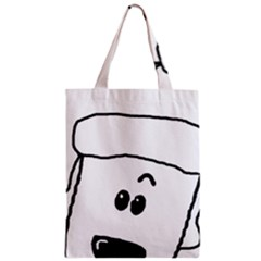 Peeping White Poodle Zipper Classic Tote Bags