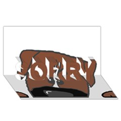 Peeping Boxer SORRY 3D Greeting Card (8x4)