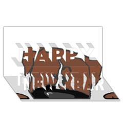 Peeping Boxer Happy New Year 3D Greeting Card (8x4)