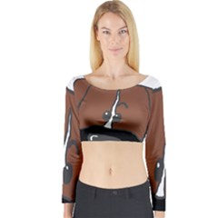 Peeping Boxer Long Sleeve Crop Top
