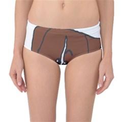 Peeping Boxer Mid-Waist Bikini Bottoms