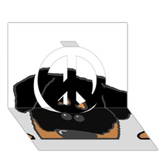 Peeping Rottweiler Peace Sign 3D Greeting Card (7x5)
