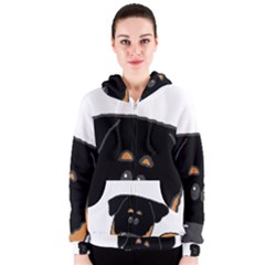 Peeping Rottweiler Women s Zipper Hoodies