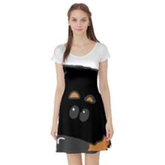 Peeping Rottweiler Short Sleeve Skater Dresses