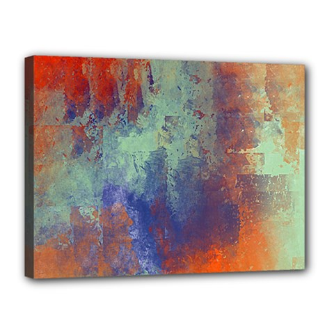 Abstract In Green, Orange, And Blue Canvas 16  X 12