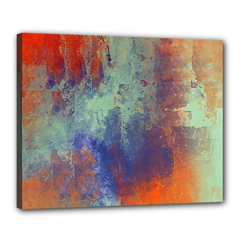 Abstract In Green, Orange, And Blue Canvas 20  X 16