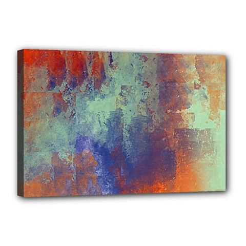 Abstract In Green, Orange, And Blue Canvas 18  X 12