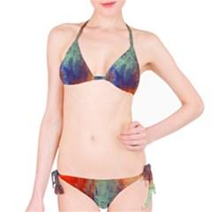 Abstract in Green, Orange, and Blue Bikini Set