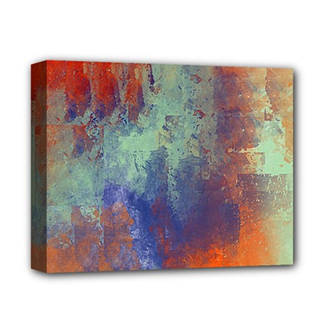 Abstract In Green, Orange, And Blue Deluxe Canvas 14  X 11