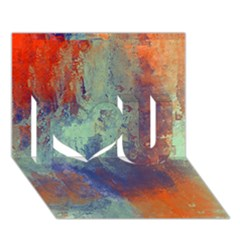 Abstract In Green, Orange, And Blue I Love You 3d Greeting Card (7x5)