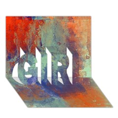 Abstract in Green, Orange, and Blue GIRL 3D Greeting Card (7x5)